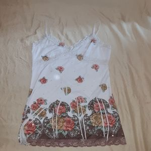 Flowered camisole with lace and sequins
